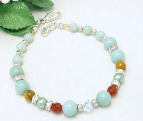 Amazonite carnelian citrine sterling beaded bracelet 8 inch blue aqua  ef7b5379 725885 1