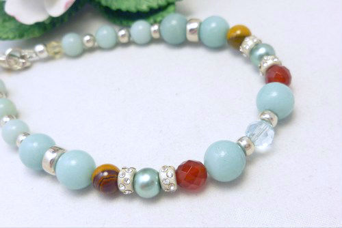 Amazonite carnelian citrine sterling beaded bracelet 8 inch blue aqua  6ecdb237 883908 1