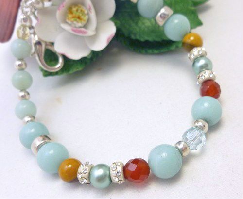 Amazonite carnelian citrine sterling beaded bracelet 8 inch blue aqua  bcac9171 101932 1