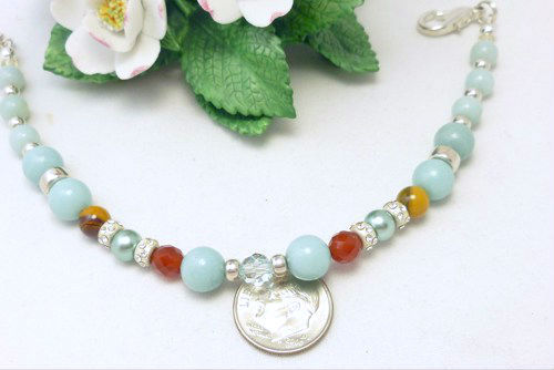 Amazonite carnelian citrine sterling beaded bracelet 8 inch blue aqua  a31a6ac5 336927 1