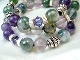Fluorite Round Gemstone Bali Sterling Beaded Memory Wire Bracelet - $52.00