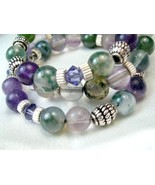 Fluorite Round Gemstone Bali Sterling Beaded Memory Wire Bracelet - $52.00