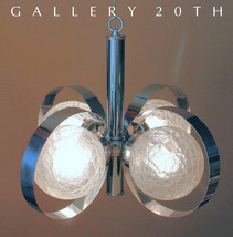 MID CENTURY MODERNIST SCIOLARI CHANDELIER! CHROME GAETANO LAMP ITALY ATO... - $1,900.00