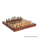 Folding wooden chess set Barcelona - schima-wood,natural and brown stained - $26.67