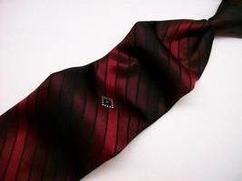 Vtg GIVENCHY ~Classy RED/Black stripe ~Mens Nec... - $28.04