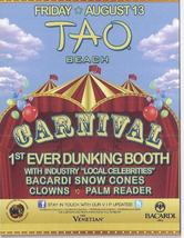 CARNIVAL Dunking Booth @ TAO BEACH Aug 13 Las Vegas Promo Card - $1.95