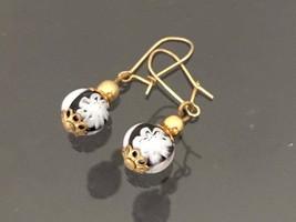 Vintage 1960s Jewelry Flower Bead Glass Dangle Earrings  - $12.99