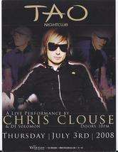 CHRIS CLOUSE at TAO NIghtclub July 3 Las Vegas Promo Card - $1.95