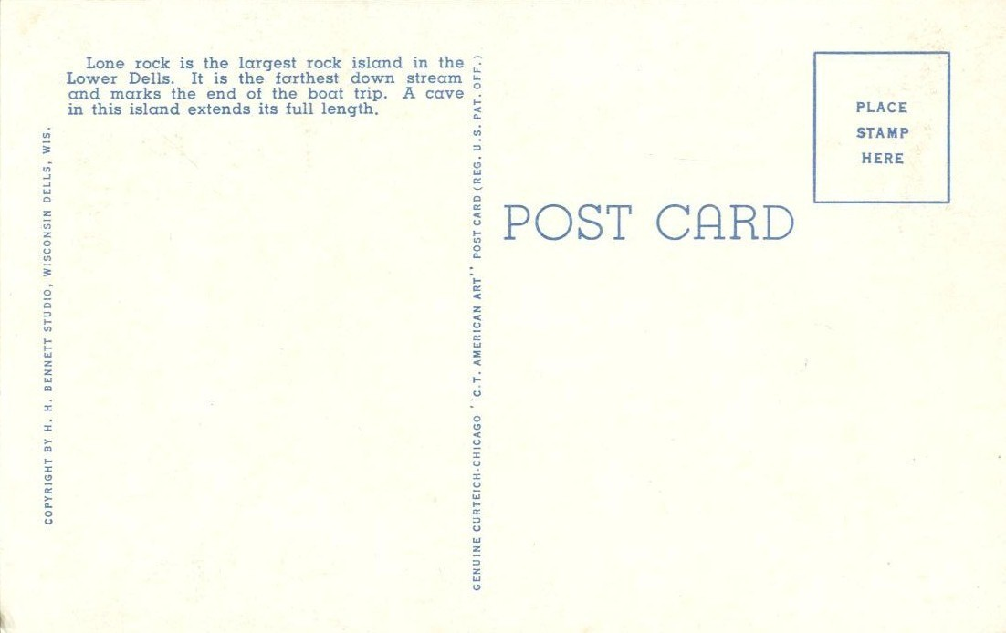 Lone Rock, Dells of the Wisconsin River, 1920s unused Postcard