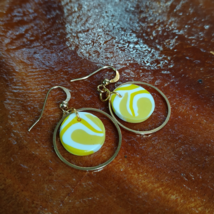 Polymer clay yellowish round earrings series (per pair) - £14.52 GBP