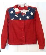 Coldwater Creek Patriotic Red White Blue Flag Jacket Stars Stripes Sz PS... - €20,37 EUR