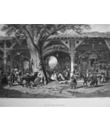 MIDDLE EAST Syria Street Bazaar in Damascus - 1883 Fine Quality German E... - $22.49