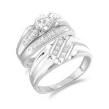 White Cubic Zirconia 14k White Rhodium Finishing Solid .925 Silver Trio Ring set - $127.76