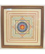 Eight Pointed Star Embroidery with Lamp Image Matted & Framed - $111.37