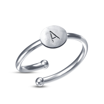 """White Platinum Plated 925 Sterling Silver Classy Initial """"A-Z"""" Adjustable Ring - £31.85 GBP"""
