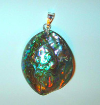52.00ct RAINBOW ABALONE SEASHELL and STERLING SILVER REVERSIBLE PENDANT - $34.99