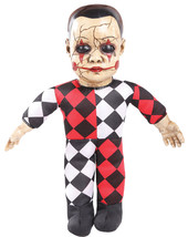Hellequin Haunted Doll Halloween Prop Animated Sounds 10 Inch Baby Haunt... - $26.90