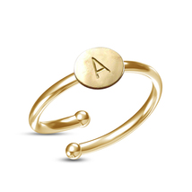 """Solid 925 Silver 14k Yellow Platinum Plated Classy Initial """"A-Z"""" Adjustable Ring - £31.85 GBP"""