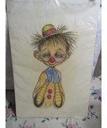 "Vintage Original 20 x 30"" Pastel Clown Portrait Painting Drawing Dopey - $55.75"