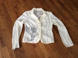 Ventilo La Colline Womens Beige Sheer Long Sleeve Button Down Shirt Flor... - $28.04