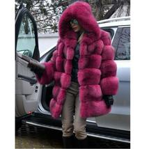 Women's Trendy Winter Quilted Faux Fur Hooded Thick Coat in 4 Hot Colors image 5