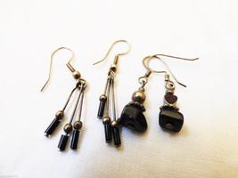 Lot of 2 silver pretty modern dangle charming stone beads earrings - $17.82