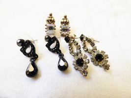 Lot of 3 fancy pretty modern dangle charming rhinestone crystal earrings - $20.79