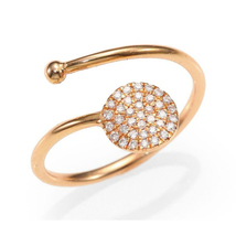 14k Rose Gold Over Solid .925 Silver White CZ Charming Bypass Adjustable Ring - £18.05 GBP