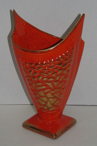 Vintage Retro Ceramic Vase Orange Gold Odd Shape