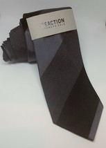 NEW Reaction Kenneth Cole Men's Classic Neck Tie Highland Stripe Black/Gray - $18.99