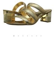 Michael Kors Flex Mule Metallic Leather Size 7 Gold MSRP $110 - $53.20