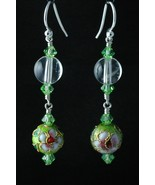 Sterling Silver Earrings_Cloisonne and Peridot Crystals - $30.00