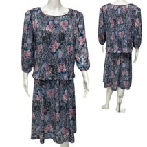 Vintage Dress Savvy New York Multicolor Floral Midi Dress USA Made sz 12... - $37.62
