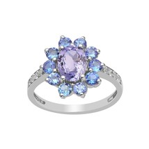 Oval Cut Tanzanite Flower Design 925 Fine Silver Engagement Women Cockta... - $38.16