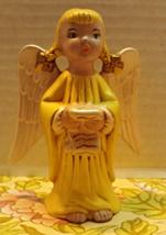 Vintage CHRISTMAS ANGEL Ceramic Figurine Yellow... - $9.00