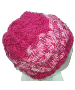 Bright Pink Hand Knit Hat with Multicolor Pink Cable - $24.00