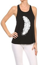 Women's Screen Printed Feather Graphic Tank (Black, Size Medium) - $18.80