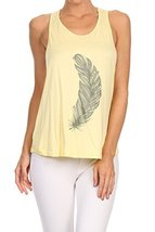 Women's Screen Printed Feather Graphic Tank (Yellow, Size Medium) - $18.80
