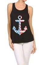 Women's Anchor American Flag Screen Printed Graphic Tank (Black, Size La... - $18.80