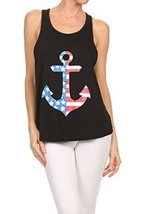 Women's Anchor American Flag Screen Printed Graphic Tank (Black, Size Me... - $18.80