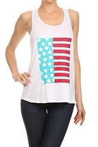Women's American Flag Screen Printed Graphic Tank (White, Size Large) - $18.80