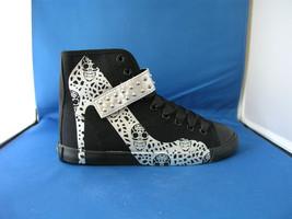 Women Fashion Design Sneaker Skull Lace Black Canvas - Silver by BE&D Ma... - $49.99