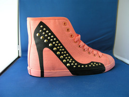 Women FAshion Design Sneaker Hey Stud - Pink Canvas by BE&D Maison Dumain - $49.99