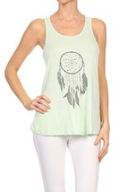 Women's Screen PrintedDreamcatcher Graphic Tank (Mint, Size Large) - $18.80