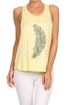 Women's Screen Printed Feather Graphic Tank (Yellow, Size Small) - $18.80