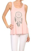 Women's Screen Printed Dreamcatcher Graphic Tank (Pink, Size Medium) - $18.80