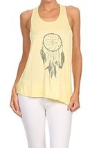 Women's Screen Printed Dreamcatcher Graphic Tank (Yellow, Size Medium) - $18.80