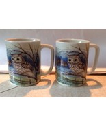 Set of 2 Coffee Mugs OTAGIRI Japan OWL Stoneware Tree Farm - £18.12 GBP