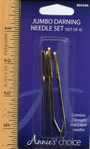 Annie's Choice Jumbo Metal Darning Needle Set (2 Straight, 2 Bent) NIP - $3.57