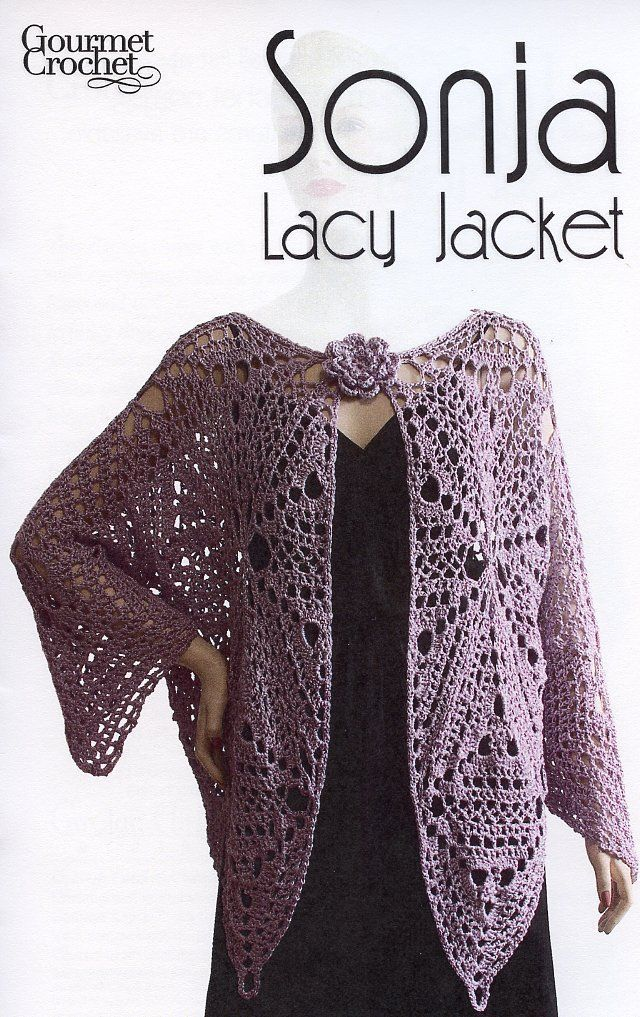 Primary image for Sonja Lacy Jacket Gourmet Crochet Pattern NEW - 30 Days To Shop & Pay! SZ XS-XL